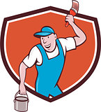 House Painter Paintbrush Paint Bucket Crest Cartoon