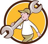 Mechanic Monkey Wrench Walking Circle Cartoon