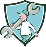 Mechanic Monkey Wrench Walking Crest Cartoon