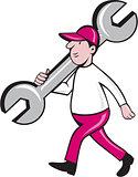 Mechanic Monkey Wrench Walking Cartoon