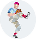 Baseball Pitcher Outfielder Throw Leg Up Low Polygon
