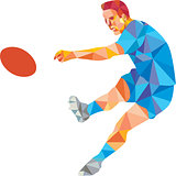 Rugby Player Kicking Ball Low Polygon