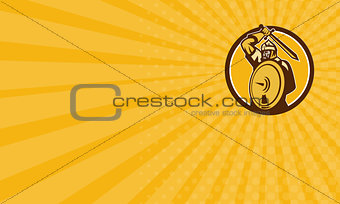 Business card Mongol Horde Barbarian Warrior Sword Circle Retro