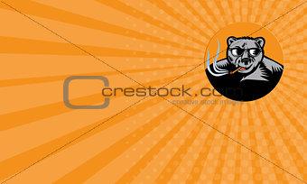 Business card Black Bear Sunglasses Cigar Circle Woodcut