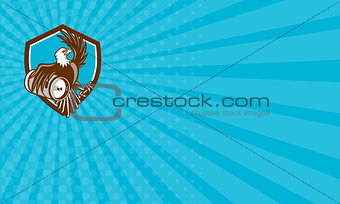 Business card American Bald Eagle Beer Keg Crest Retro