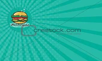 Business card Retro 1950s Diner  Hamburger Circle
