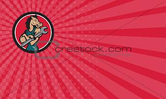 Business card Horse Mechanic Spanner Circle Cartoon