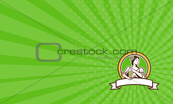 Business card Vintage Lady Holding Grapes Circle Retro