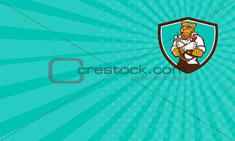 Business card Leopard Heating Specialist Mechanic Shield Cartoon