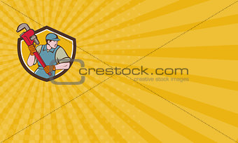Business card Plumber Running Monkey Wrench Crest Cartoon