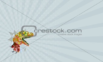 Business card Raptor Breaking Out Low Polygon