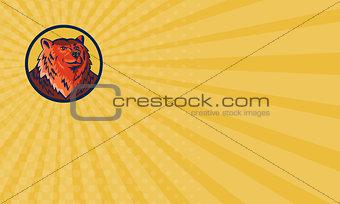 Business card Russian Bear Head Circle Retro