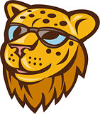 Cheetah Head Sunglasses Smiling Cartoon