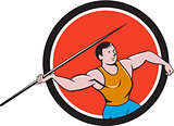 Javelin Throw Track and Field Circle Cartoon