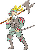 Spanish Conquistador Ax Sword Cartoon