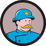 New York Policeman Vintage Circle Cartoon