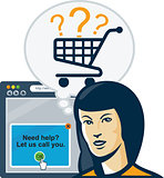 Female Internet Shopper Shopping Cart
