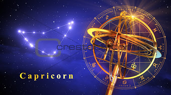 Armillary Sphere And Constellation Capricorn Over Blue Background