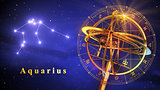 Armillary Sphere And Constellation Aquarius Over Blue Background