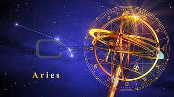 Armillary Sphere And Constellation Aries Over Blue Background