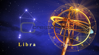 Armillary Sphere And Constellation Libra Over Blue Background