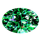 Emerald Oval Over White Background