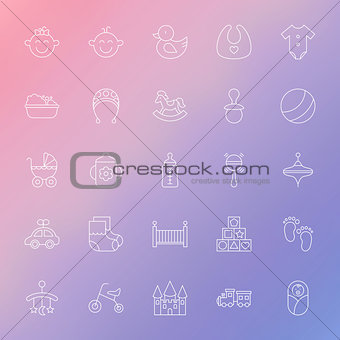Baby and Toys Line Icons Set over Blurred Background