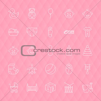 Baby and Toys Line Icons Set over Polygonal Background