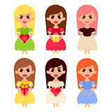 Beautiful Girls Cartoon Characters in Princess Dresses