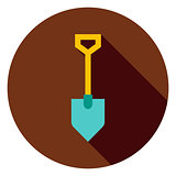 Garden Tool Shovel Circle Icon