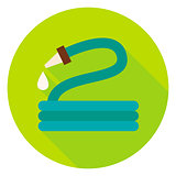 Garden Watering Hose Circle Icon