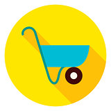 Garden Wheelbarrow Circle Icon