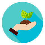 Hand with Plant Growth Circle Icon