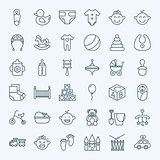 Line Baby Child and Toys Icons Set