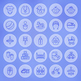 Line Circle Baby and Child Icons Set