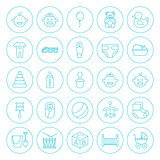 Line Circle Baby Child Icons Set