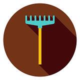 Rake Garden Tool Circle Icon