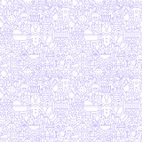Thin Line Baby White Seamless Pattern