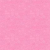 Thin Line Pink Baby Girl Seamless Pattern