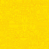 Thin Yellow Baby Newborn Line Seamless Pattern