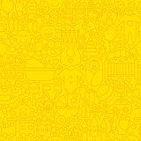 Thin Yellow Baby Newborn Line Seamless Pattern