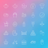Toys and Baby Line Icons Set over Blurred Background