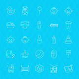 Toys and Baby Line Icons Set over Polygonal Background