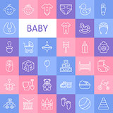 Vector Line Art Baby Icons Set