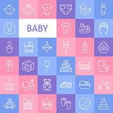Vector Line Art Baby Icons Set