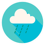 Weather Cloud Rain Circle Icon