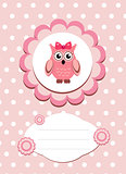 baby card cute owl, baby owl invitation, frame for text cute animal, cartoon owl vector illustration