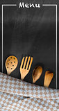 Menu - Blackboard with Kitchen Utensils