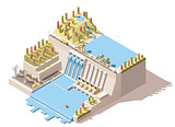 Vector isometric hydro power plant infographic