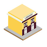 Library building isometric 3d icon